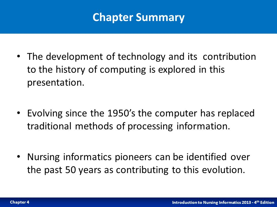 Chapter Summary The development of technology and its contribution to the history of computing is explored in this presentation.