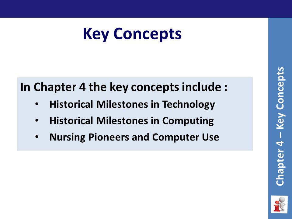 Key Concepts Chapter 4 – Key Concepts In Chapter 4 the key concepts include : Historical Milestones in Technology Historical Milestones in Computing Nursing Pioneers and Computer Use