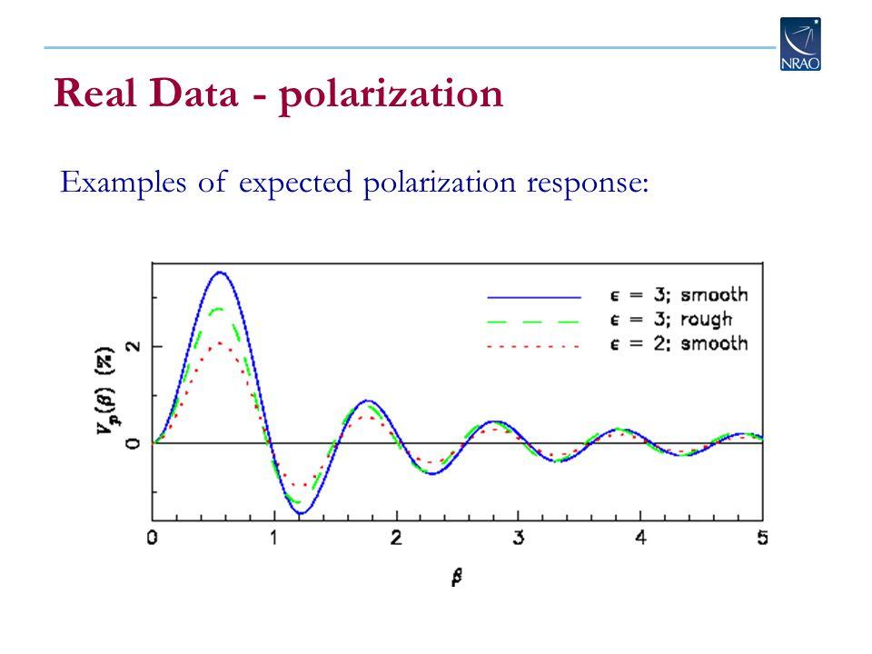 Real Data - polarization Examples of expected polarization response: