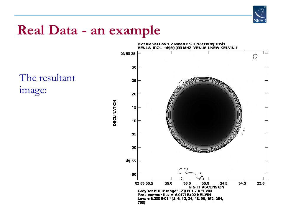 Real Data - an example The resultant image: