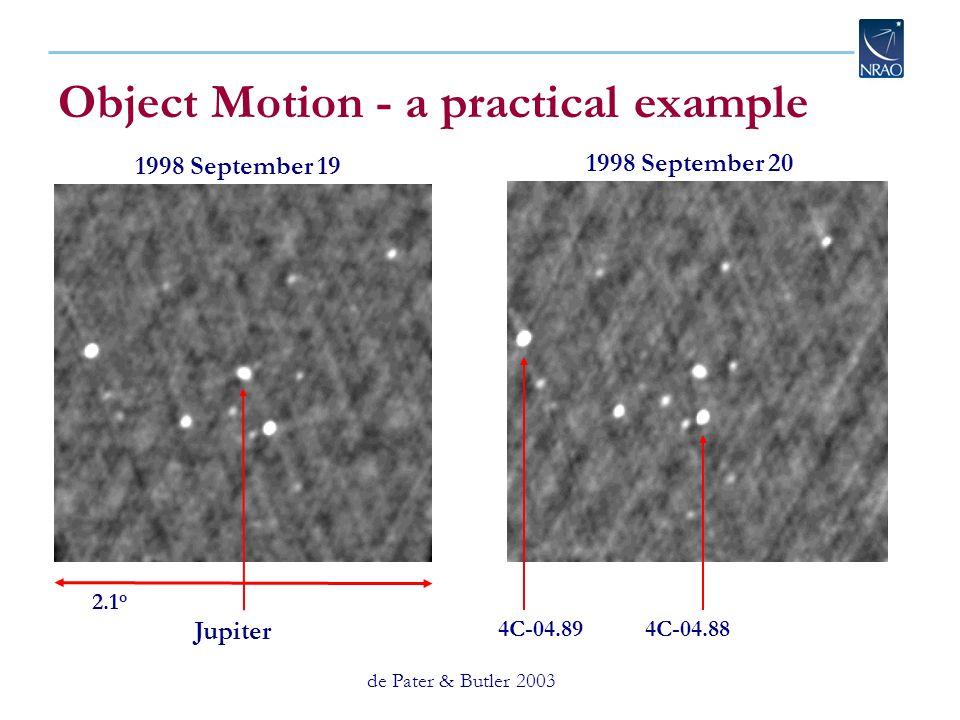Object Motion - a practical example de Pater & Butler 2003 2.1 o 4C-04.89 4C-04.88 Jupiter 1998 September 19 1998 September 20
