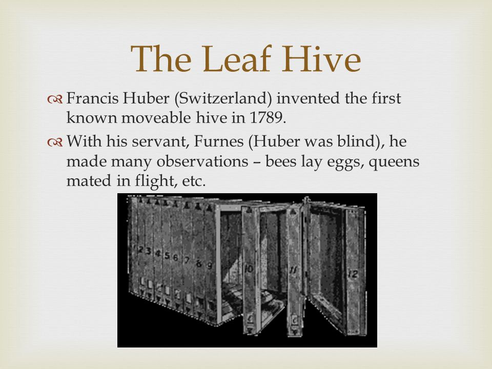  Francis Huber (Switzerland) invented the first known moveable hive in 1789.