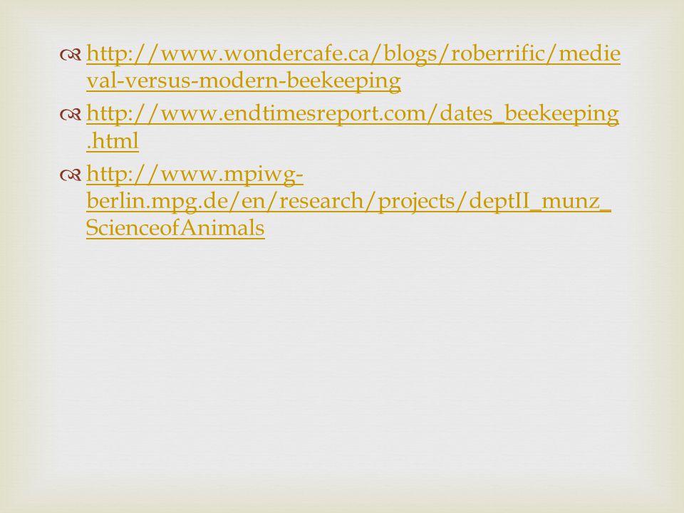  http://www.wondercafe.ca/blogs/roberrific/medie val-versus-modern-beekeeping http://www.wondercafe.ca/blogs/roberrific/medie val-versus-modern-beeke