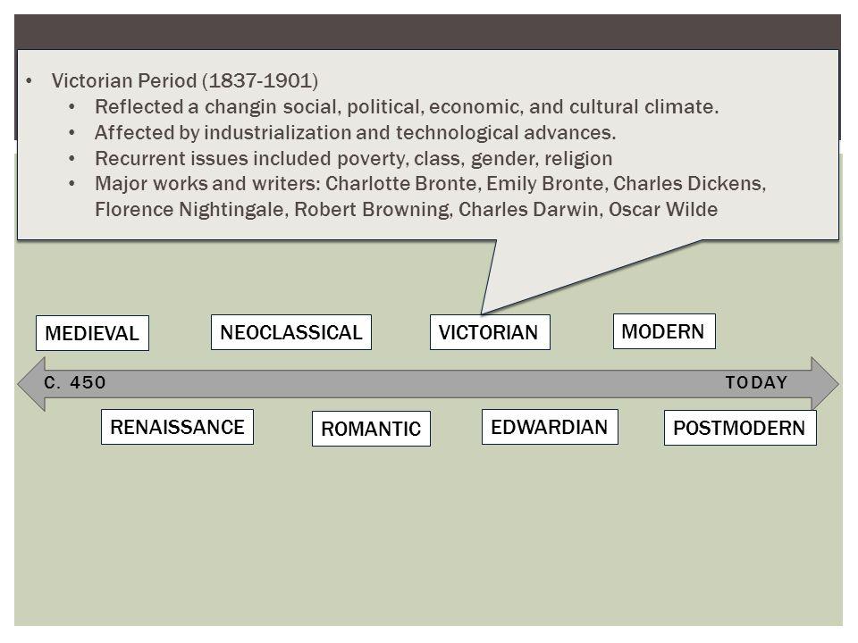 C. 450TODAY TIMELINE OF LITERARY PERIODS (BRITISH LITERATURE) MEDIEVAL RENAISSANCE NEOCLASSICAL ROMANTIC VICTORIAN EDWARDIAN MODERN POSTMODERN Victori