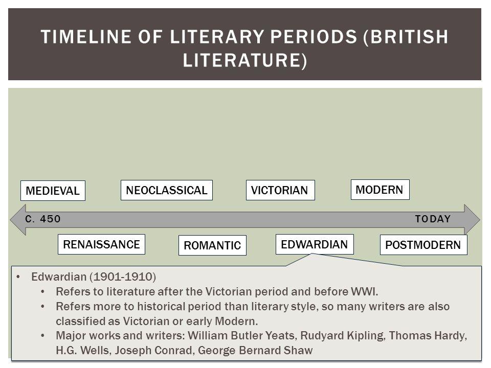 C. 450TODAY TIMELINE OF LITERARY PERIODS (BRITISH LITERATURE) MEDIEVAL RENAISSANCE NEOCLASSICAL ROMANTIC VICTORIAN EDWARDIAN MODERN POSTMODERN Edwardi