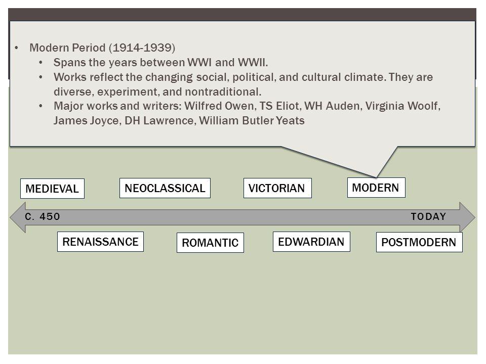 C. 450TODAY TIMELINE OF LITERARY PERIODS (BRITISH LITERATURE) MEDIEVAL RENAISSANCE NEOCLASSICAL ROMANTIC VICTORIAN EDWARDIAN MODERN POSTMODERN Modern