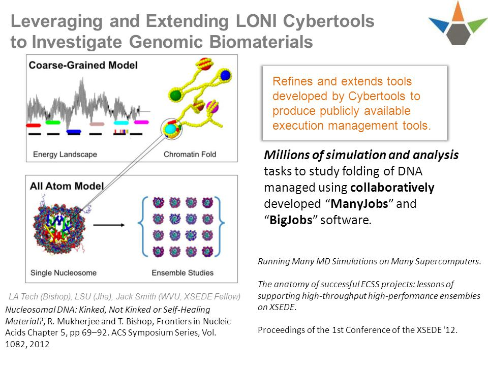 Leveraging and Extending LONI Cybertools to Investigate Genomic Biomaterials Millions of simulation and analysis tasks to study folding of DNA managed using collaboratively developed ManyJobs and BigJobs software.