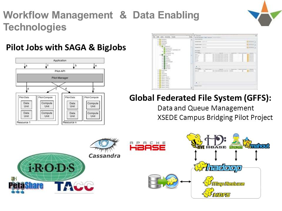 Workflow Management & Data Enabling Technologies Global Federated File System (GFFS): Data and Queue Management XSEDE Campus Bridging Pilot Project Pilot Jobs with SAGA & BigJobs