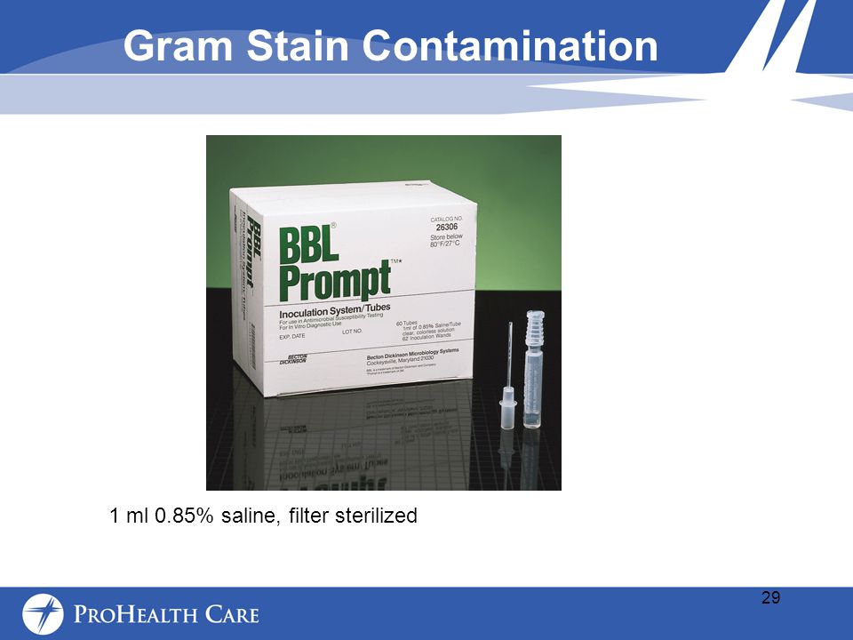 1 ml 0.85% saline, filter sterilized Gram Stain Contamination 29