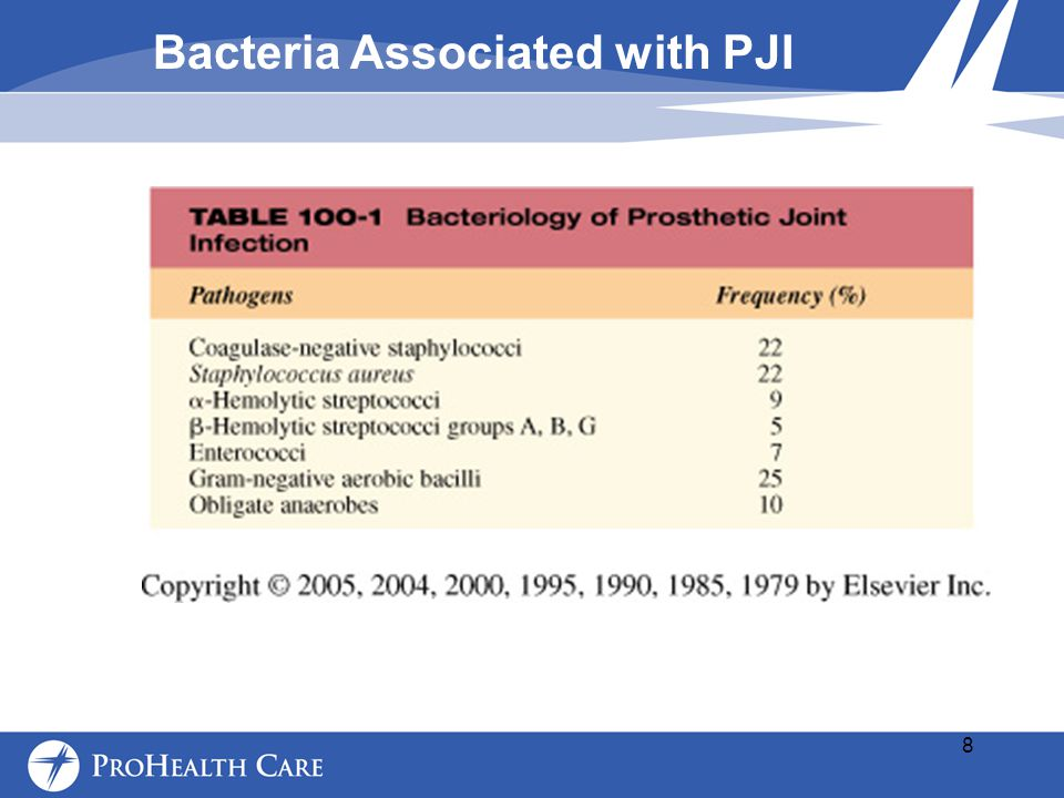 Bacteria Associated with PJI 8