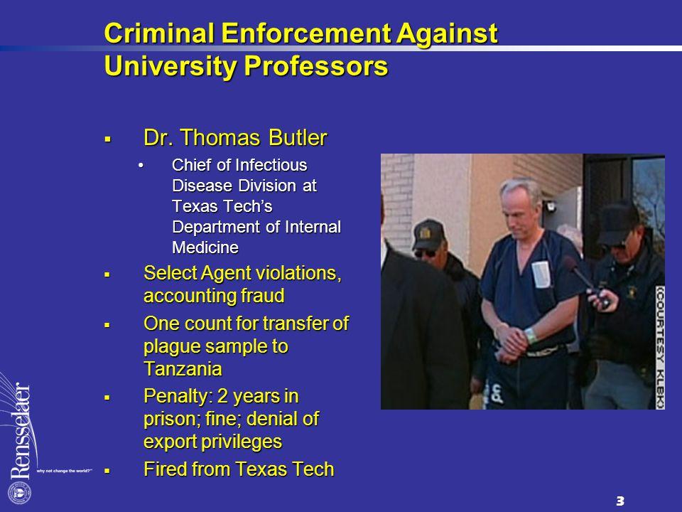 Criminal Enforcement Against University Professors  Dr.