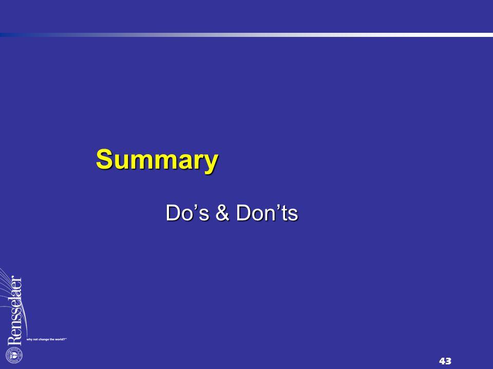 43 Do's & Don'ts Summary
