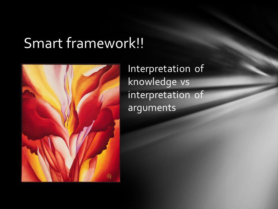 Smart framework!! Interpretation of knowledge vs interpretation of arguments