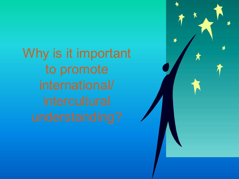 Awareness Diversity Communication Solidarity Unity Peace Acceptance Respect Tolerance Non-judgemental What is International / Intercultural Understanding.
