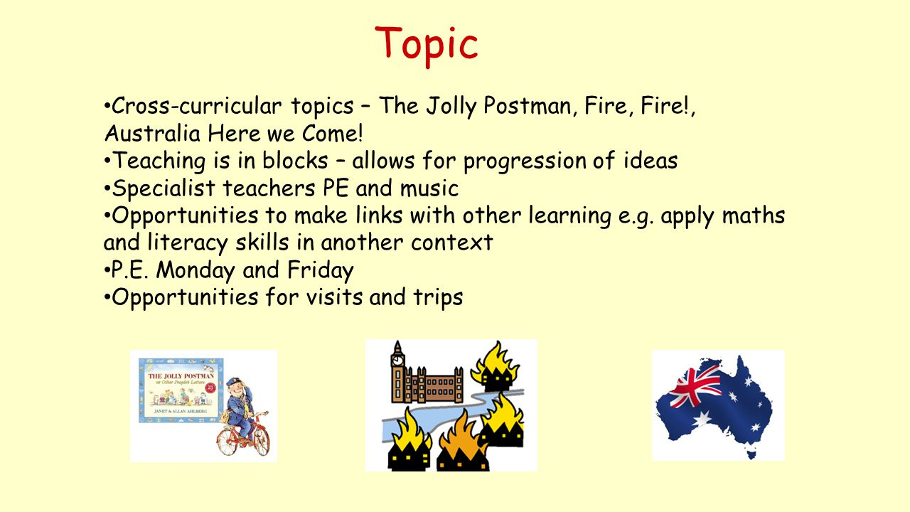 Topic Cross-curricular topics – The Jolly Postman, Fire, Fire!, Australia Here we Come! Teaching is in blocks – allows for progression of ideas Specia