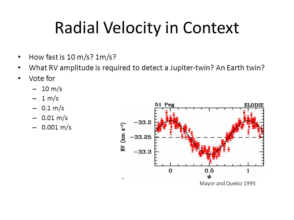 Radial Velocity in Context How fast is 10 m/s.1m/s.