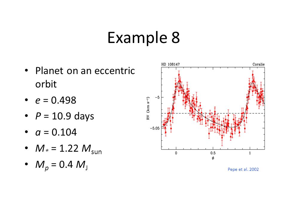 Example 8 Planet on an eccentric orbit e = 0.498 P = 10.9 days a = 0.104 M * = 1.22 M sun M p = 0.4 M J Pepe et al.