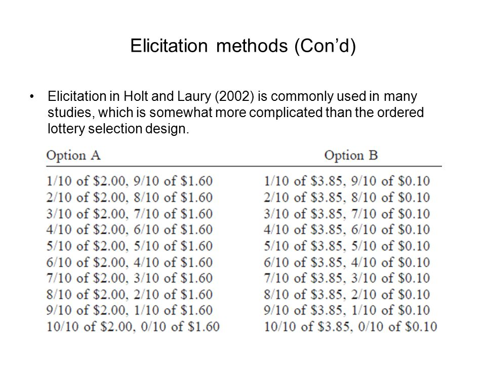 Elicitation methods (Con'd) Elicitation in Holt and Laury (2002) is commonly used in many studies, which is somewhat more complicated than the ordered lottery selection design.