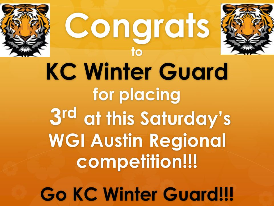 Congrats to KC Winter Guard for placing 3 rd at this Saturday's WGI Austin Regional competition!!.