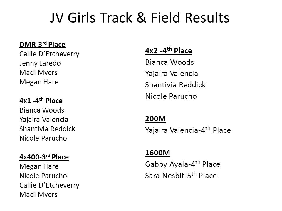 JV Girls Track & Field Results DMR-3 rd Place Callie D'Etcheverry Jenny Laredo Madi Myers Megan Hare 4x1 -4 th Place Bianca Woods Yajaira Valencia Sha