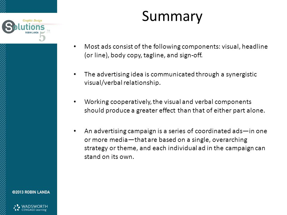 Summary Most ads consist of the following components: visual, headline (or line), body copy, tagline, and sign-off. The advertising idea is communicat