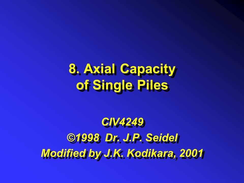 8. Axial Capacity of Single Piles CIV4249 ©1998 Dr. J.P. Seidel Modified by J.K. Kodikara, 2001 CIV4249 ©1998 Dr. J.P. Seidel Modified by J.K. Kodikar