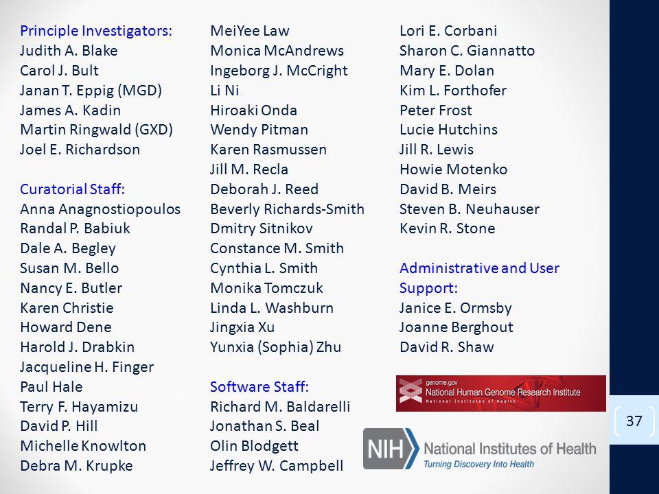 37 Principle Investigators: Judith A. Blake Carol J.