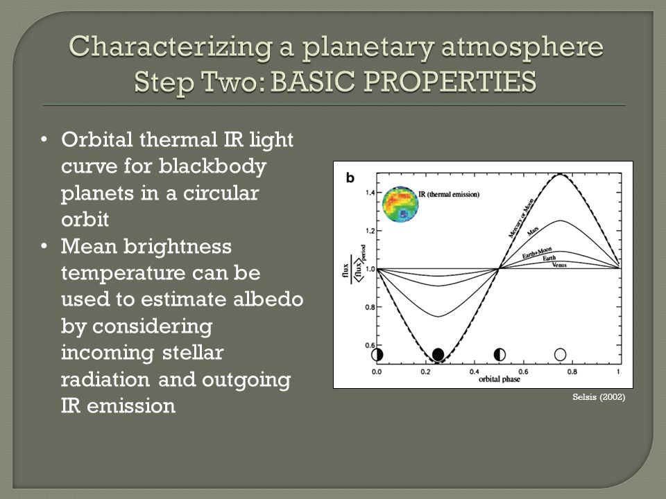 Selsis (2002) Orbital thermal IR light curve for blackbody planets in a circular orbit Mean brightness temperature can be used to estimate albedo by c
