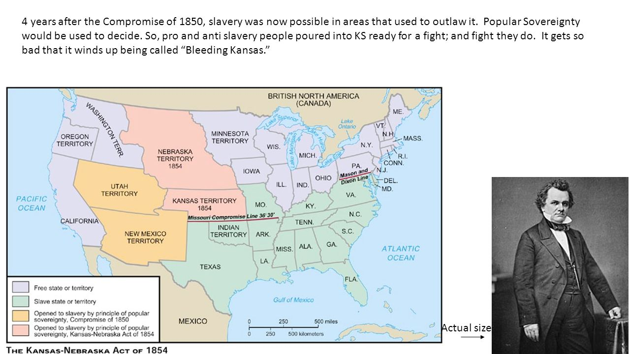 Actual size 4 years after the Compromise of 1850, slavery was now possible in areas that used to outlaw it.