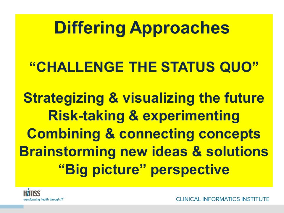 CHALLENGE THE STATUS QUO Strategizing & visualizing the future Risk-taking & experimenting Combining & connecting concepts Brainstorming new ideas & solutions Big picture perspective Differing Approaches