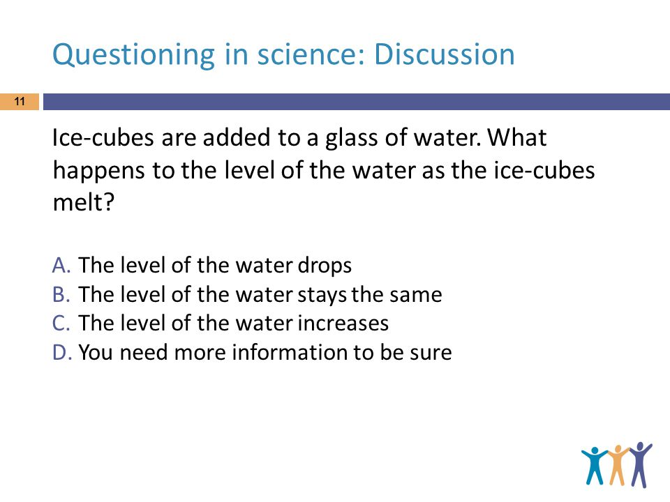 Questioning in science: Discussion Ice-cubes are added to a glass of water.
