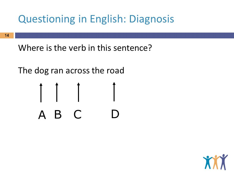 Questioning in English: Diagnosis Where is the verb in this sentence.