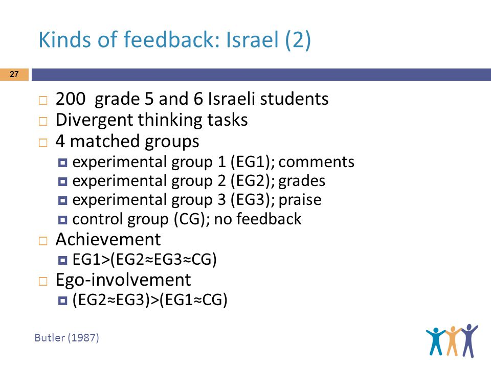 Butler (1987) Kinds of feedback: Israel (2) 27  200 grade 5 and 6 Israeli students  Divergent thinking tasks  4 matched groups  experimental group 1 (EG1); comments  experimental group 2 (EG2); grades  experimental group 3 (EG3); praise  control group (CG); no feedback  Achievement  EG1>(EG2≈EG3≈CG)  Ego-involvement  (EG2≈EG3)>(EG1≈CG)