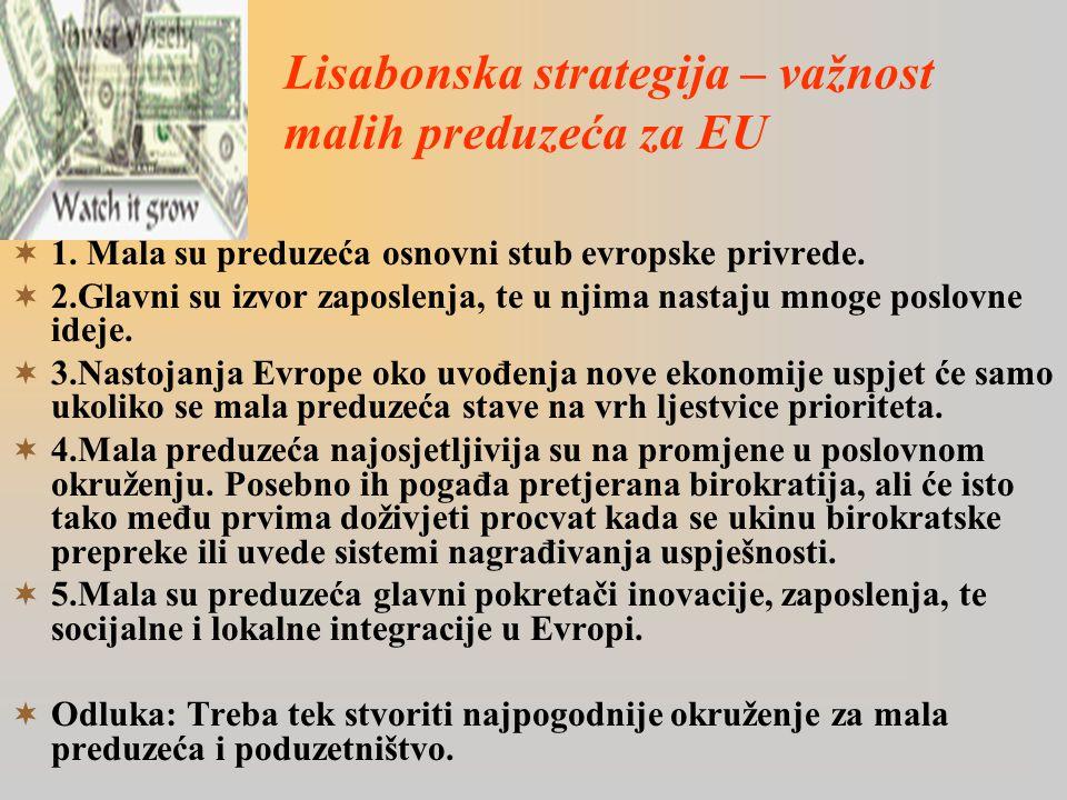 Lisabonska strategija – važnost malih preduzeća za EU  1.