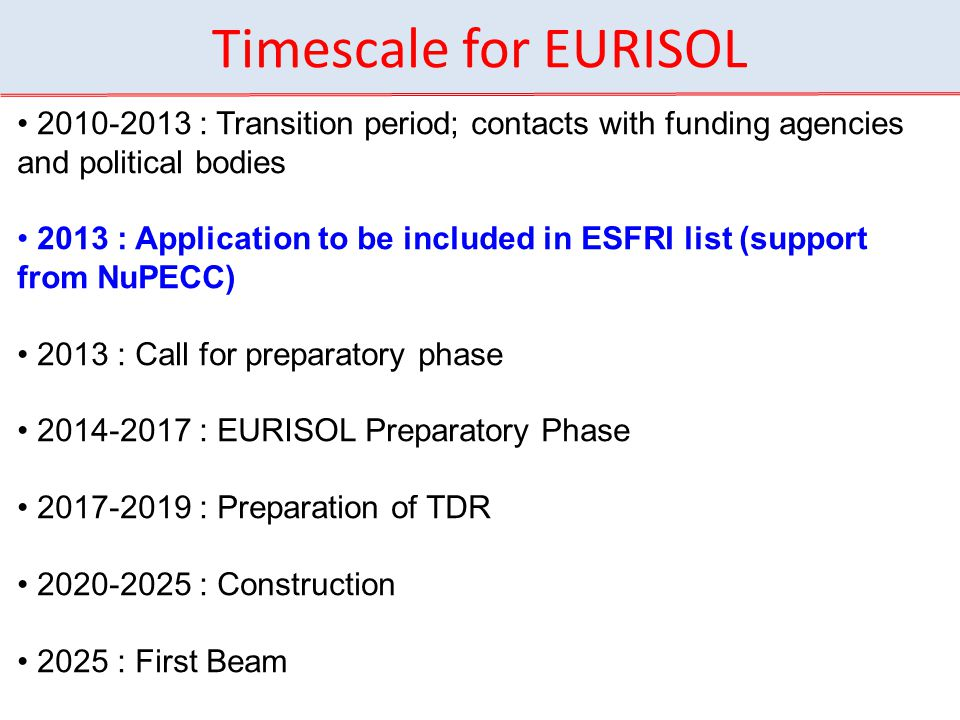 Timescale for EURISOL 2010-2013 : Transition period; contacts with funding agencies and political bodies 2013 : Application to be included in ESFRI list (support from NuPECC) 2013 : Call for preparatory phase 2014-2017 : EURISOL Preparatory Phase 2017-2019 : Preparation of TDR 2020-2025 : Construction 2025 : First Beam