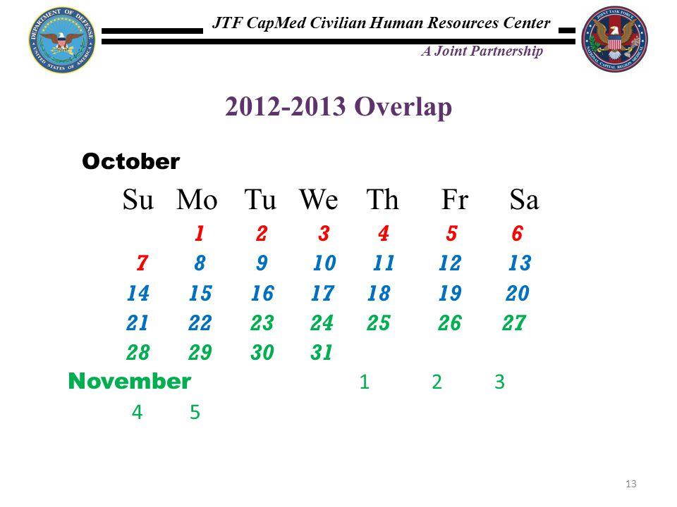 JTF CapMed Civilian Human Resources Center A Joint Partnership 2012-2013 Overlap October Su Mo Tu We Th Fr Sa 1 2 3 4 5 6 7 8 9 10 11 12 13 14 15 16 17 18 19 20 21 22 23 24 25 26 27 28 29 30 31 November 1 2 3 45 13