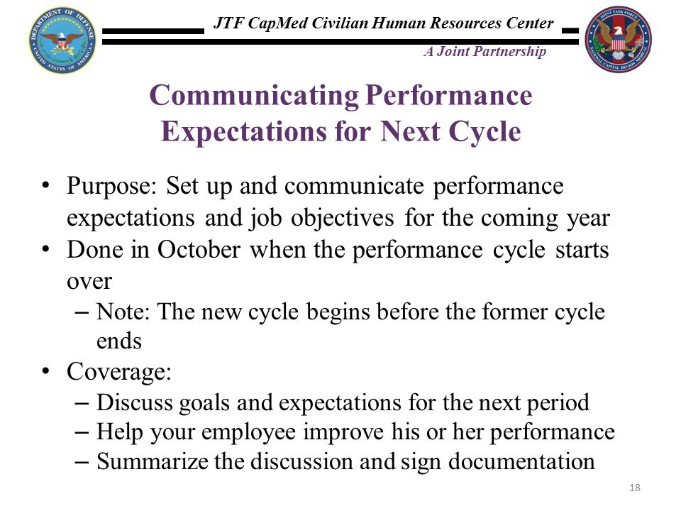 JTF CapMed Civilian Human Resources Center A Joint Partnership Communicating Performance Expectations for Next Cycle Purpose: Set up and communicate performance expectations and job objectives for the coming year Done in October when the performance cycle starts over – Note: The new cycle begins before the former cycle ends Coverage: – Discuss goals and expectations for the next period – Help your employee improve his or her performance – Summarize the discussion and sign documentation 18