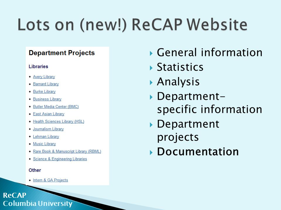 ReCAP Columbia University  General information  Statistics  Analysis  Department- specific information  Department projects  Documentation