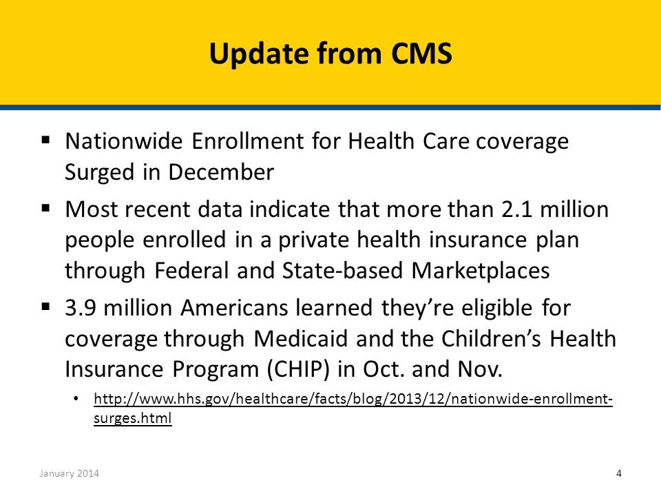  Find Local Help CACs, Navigators, and FQHC listed as assisters https://localhelp.healthcare.gov/  Champions for Coverage Organizations helping with education not enrollment) http://marketplace.cms.gov/help-us/champions-for- coverage-list.pdf http://marketplace.cms.gov/help-us/champions-for- coverage-list.pdf  Public Enrollment Events http://marketplace.cms.gov/getofficialresources/other- partner-resources/events-calendar-for-ffm-and-spms-.pdf http://marketplace.cms.gov/getofficialresources/other- partner-resources/events-calendar-for-ffm-and-spms-.pdf Partnering with Other Organizations January 201415