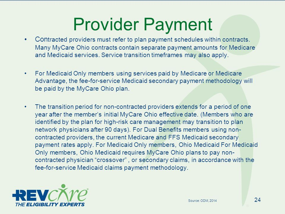 Provider Payment 24 Source: ODM, 2014 Con tracted providers must refer to plan payment schedules within contracts.