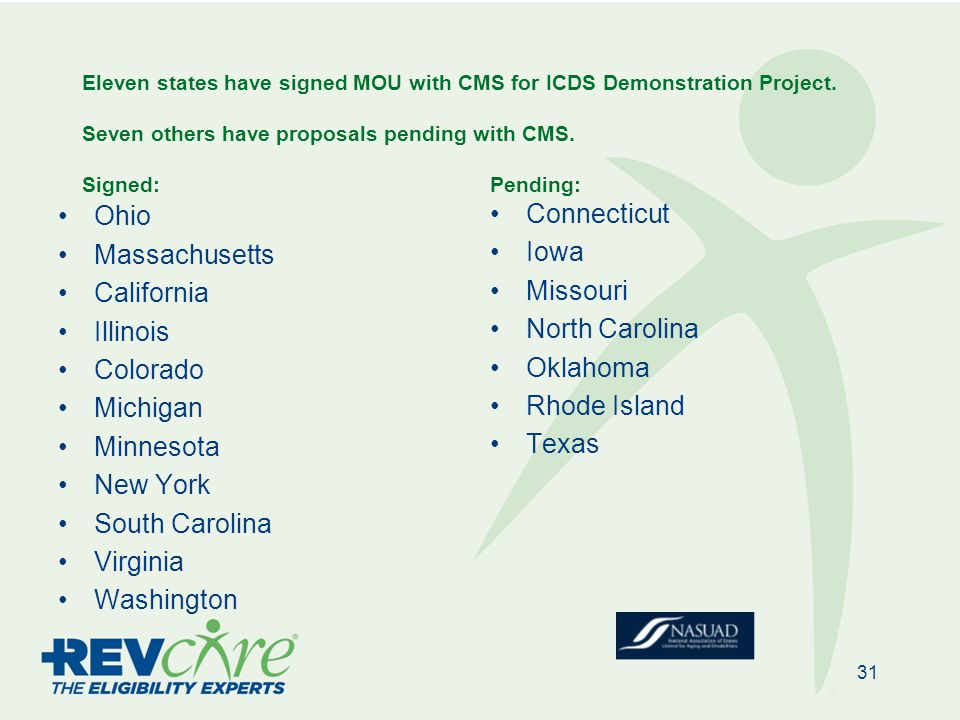 Eleven states have signed MOU with CMS for ICDS Demonstration Project.