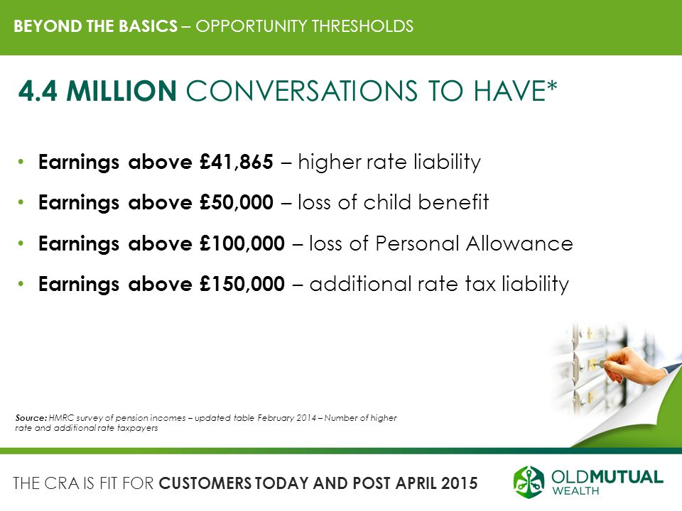 BEYOND THE BASICS – OPPORTUNITY THRESHOLDS Earnings above £41,865 – higher rate liability Earnings above £50,000 – loss of child benefit Earnings abov