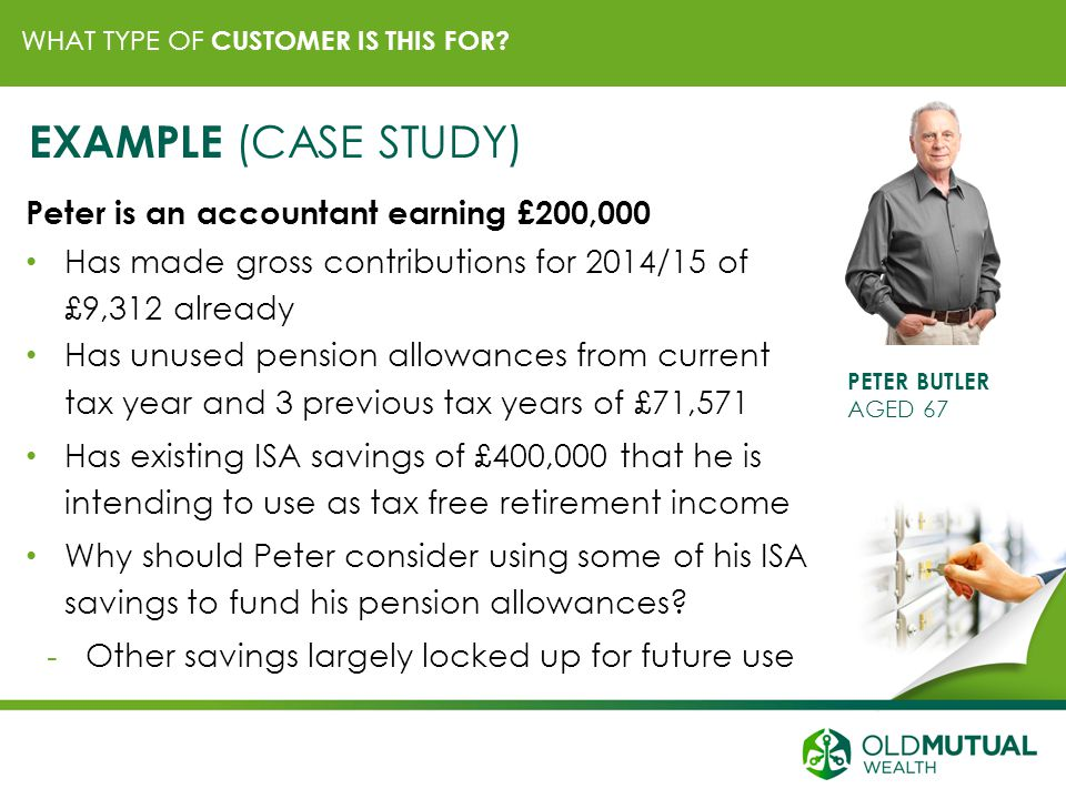 WHAT TYPE OF CUSTOMER IS THIS FOR? PETER BUTLER AGED 67 EXAMPLE (CASE STUDY) Peter is an accountant earning £200,000 Has made gross contributions for