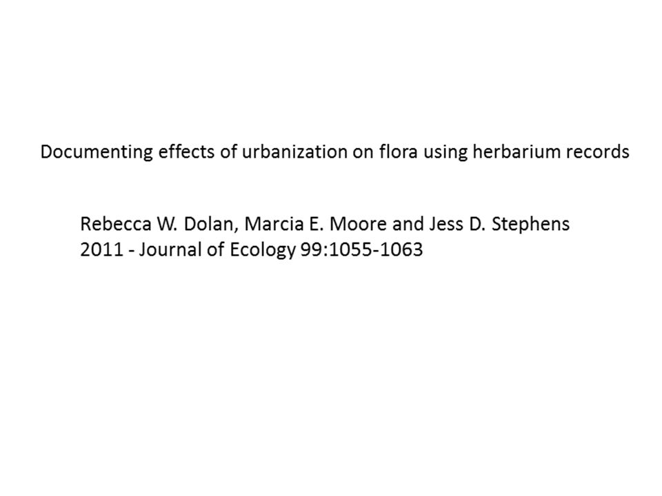 Documenting effects of urbanization on flora using herbarium records