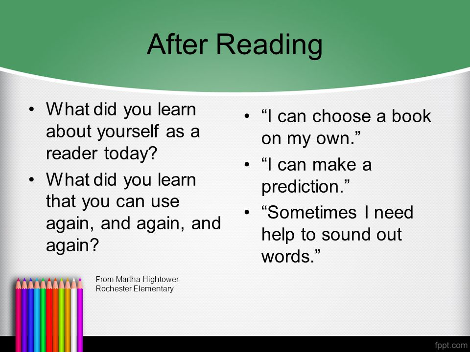 After Reading What did you learn about yourself as a reader today.