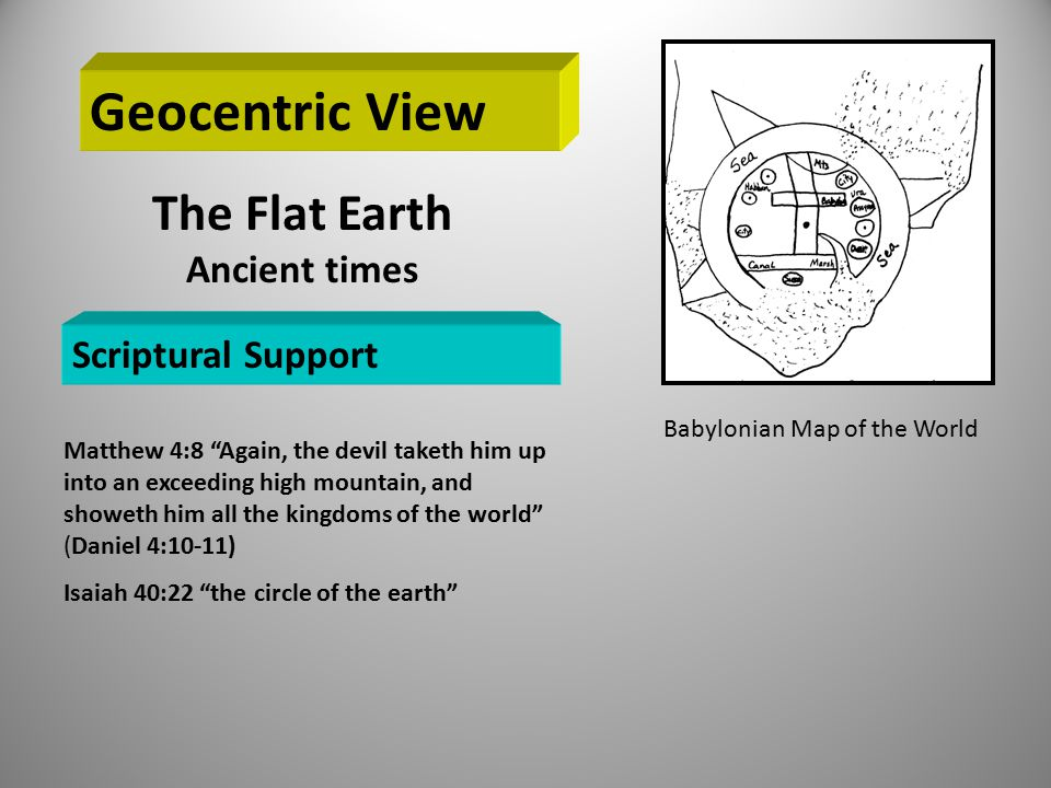Geocentric View The Flat Earth Ancient times Scriptural Support Matthew 4:8 Again, the devil taketh him up into an exceeding high mountain, and showeth him all the kingdoms of the world (Daniel 4:10-11) Isaiah 40:22 the circle of the earth Babylonian Map of the World