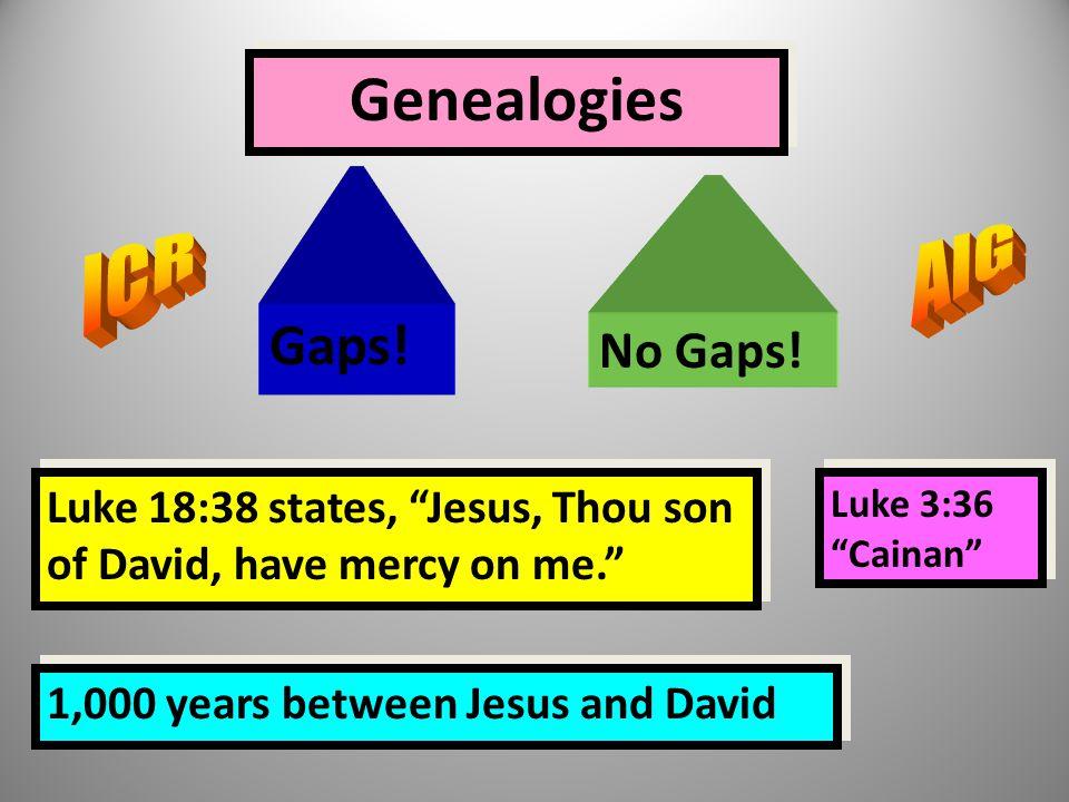 """Genealogies Gaps! No Gaps! Luke 18:38 states, """"Jesus, Thou son of David, have mercy on me."""" 1,000 years between Jesus and David Luke 3:36 """"Cainan"""""""