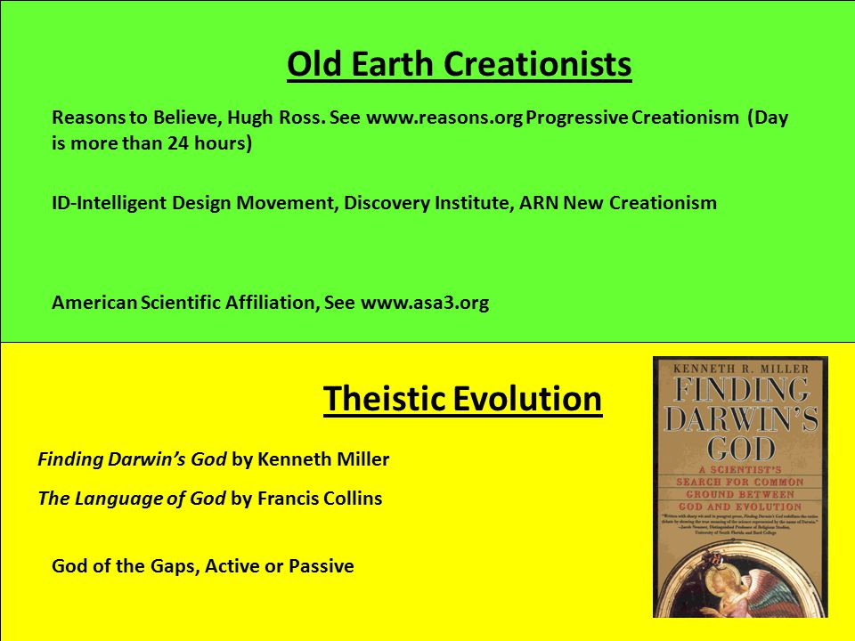Old Earth Creationists Theistic Evolution Reasons to Believe, Hugh Ross. See www.reasons.org Progressive Creationism (Day is more than 24 hours) Ameri