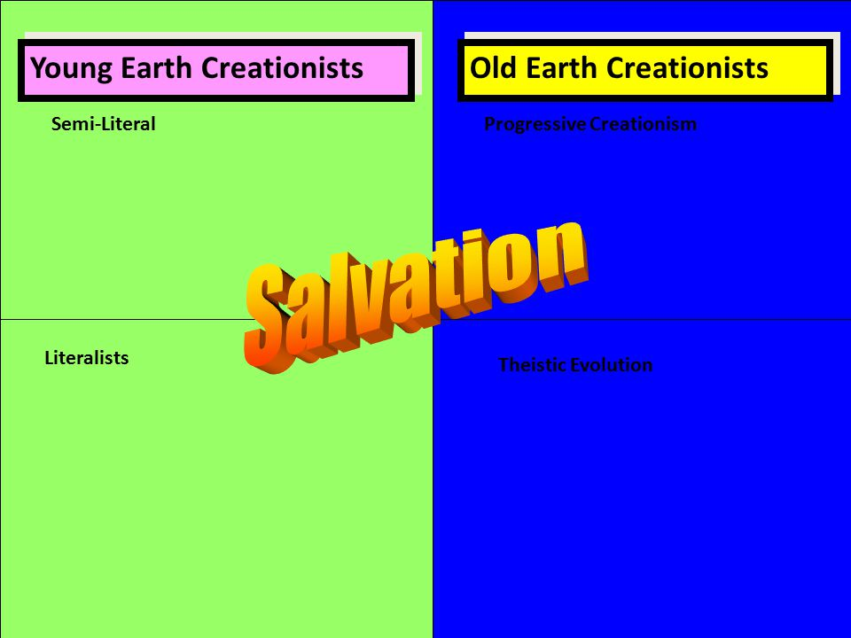 Young Earth Creationists Old Earth Creationists Theistic Evolution Literalists Semi-LiteralProgressive Creationism