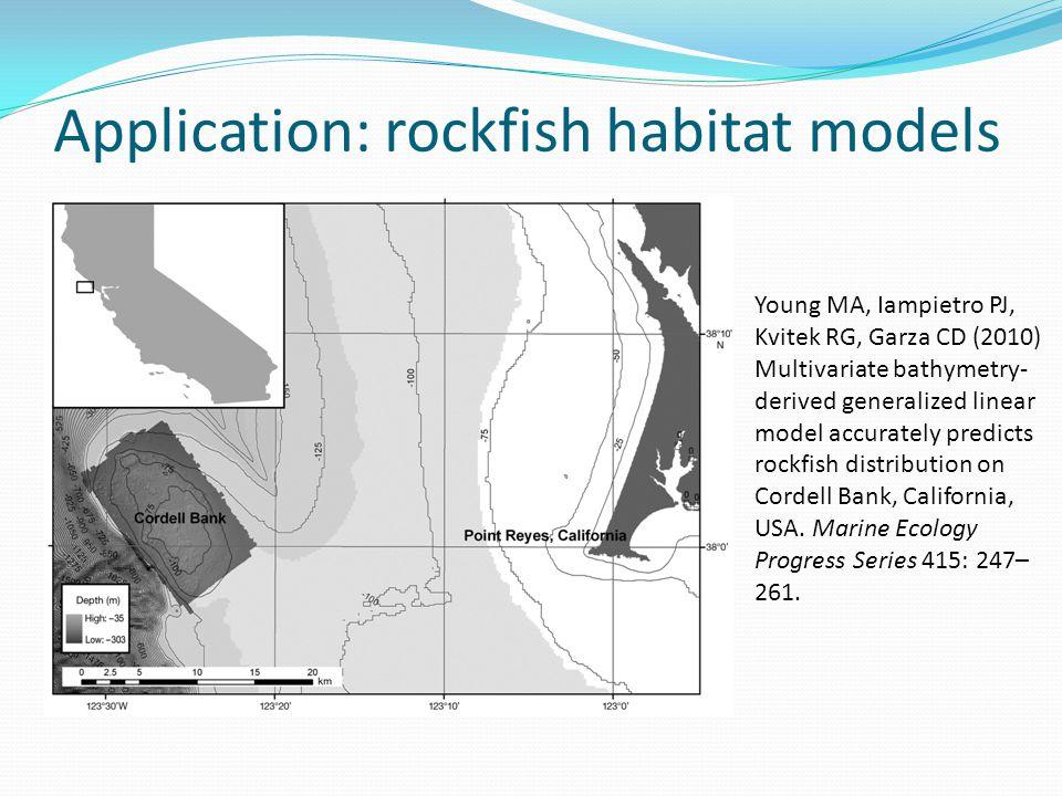 Application: rockfish habitat models Young MA, Iampietro PJ, Kvitek RG, Garza CD (2010) Multivariate bathymetry- derived generalized linear model accu